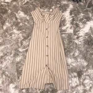 New with tags, tan and black striped dress